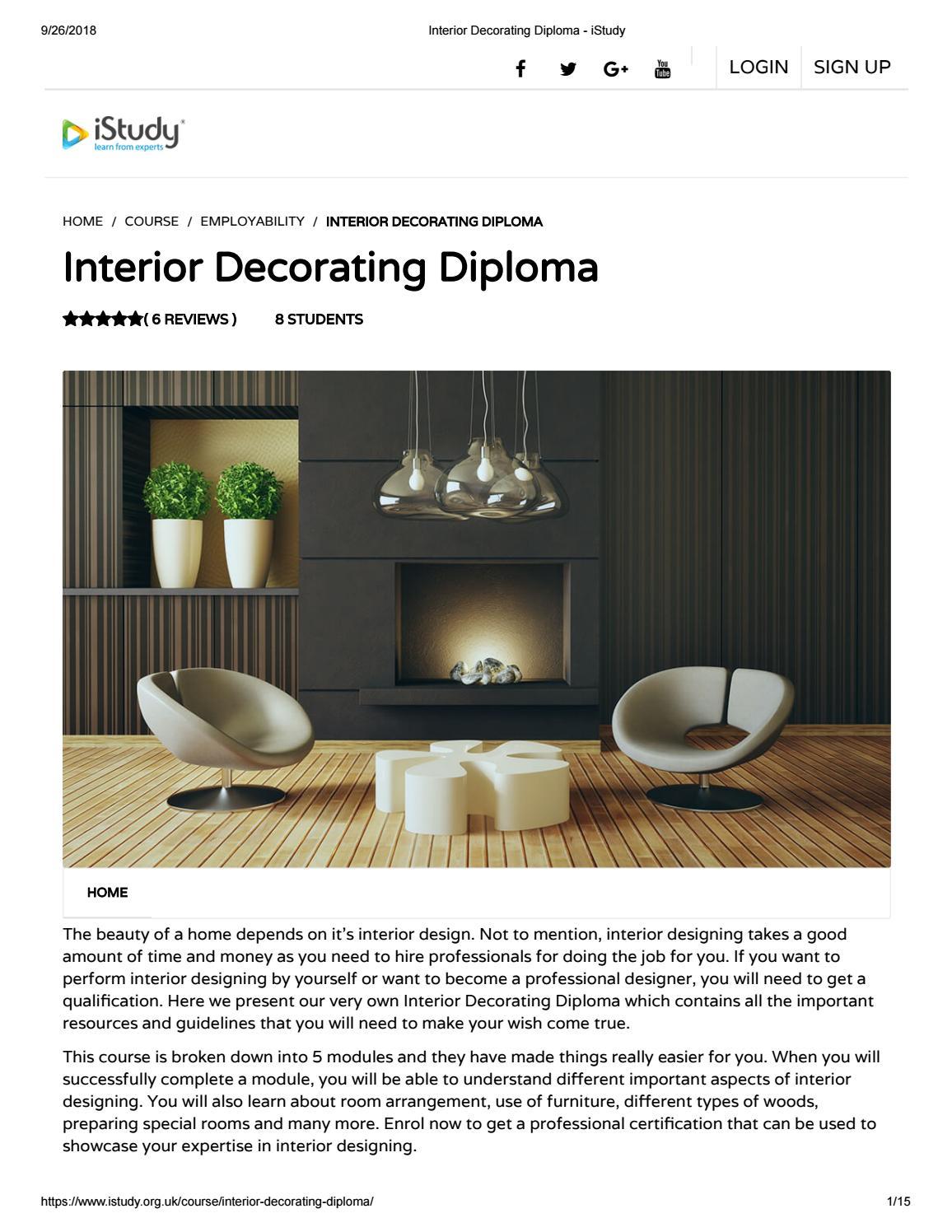 Interior Decorating Diploma Istudy By Istudyorguk Issuu