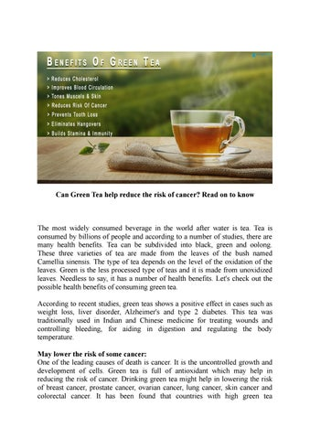 Can Green Tea Help Reduce The Risk Of Cancer Read On To Know By Patientmd Issuu