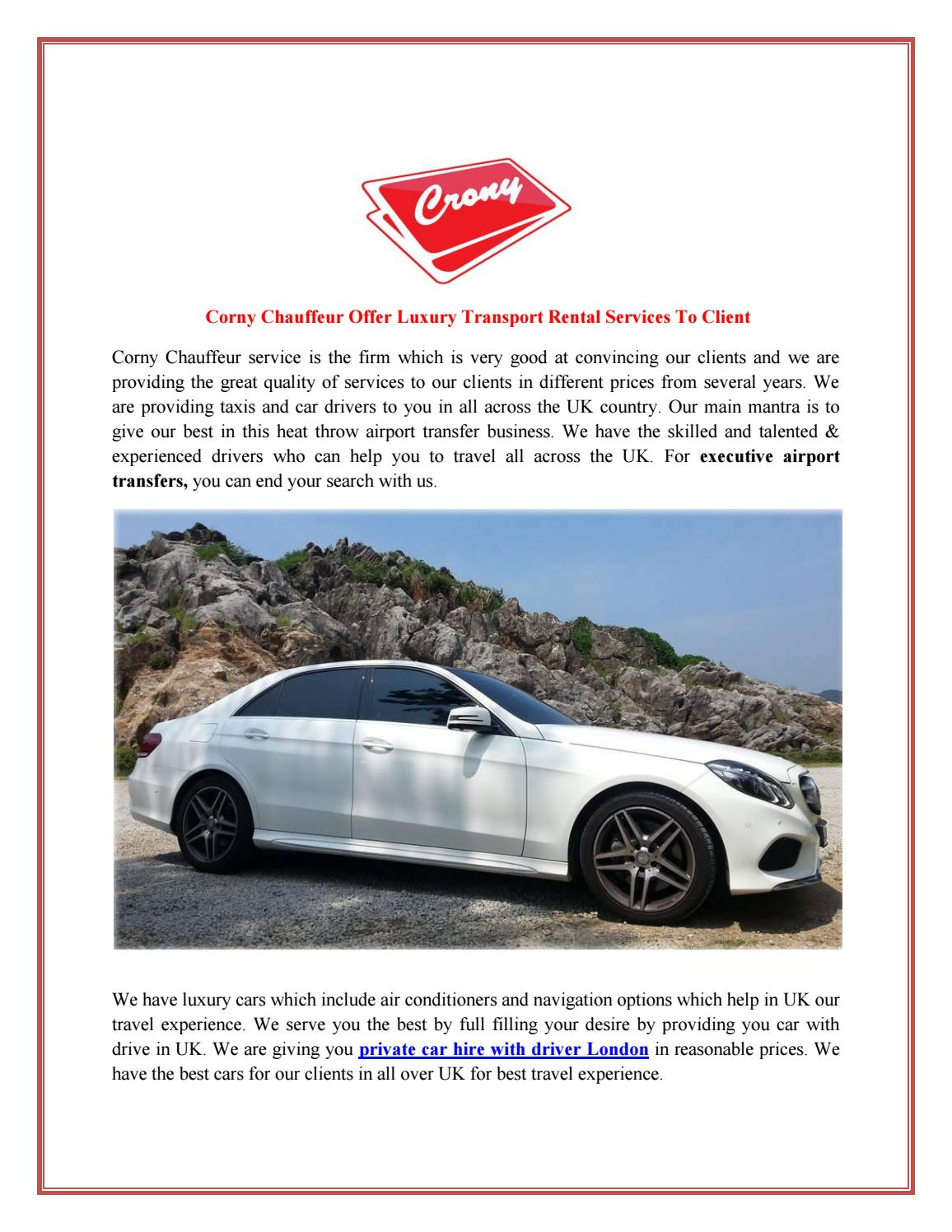 Corny Chauffeur Offer Luxury Transport Rental Services To Client By