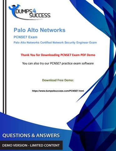 Paloalto Networks PCNSE7 Certified Network Security Engineer Exam