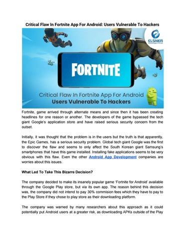 Critical Flaw In Fortnite App For Android: Users Vulnerable