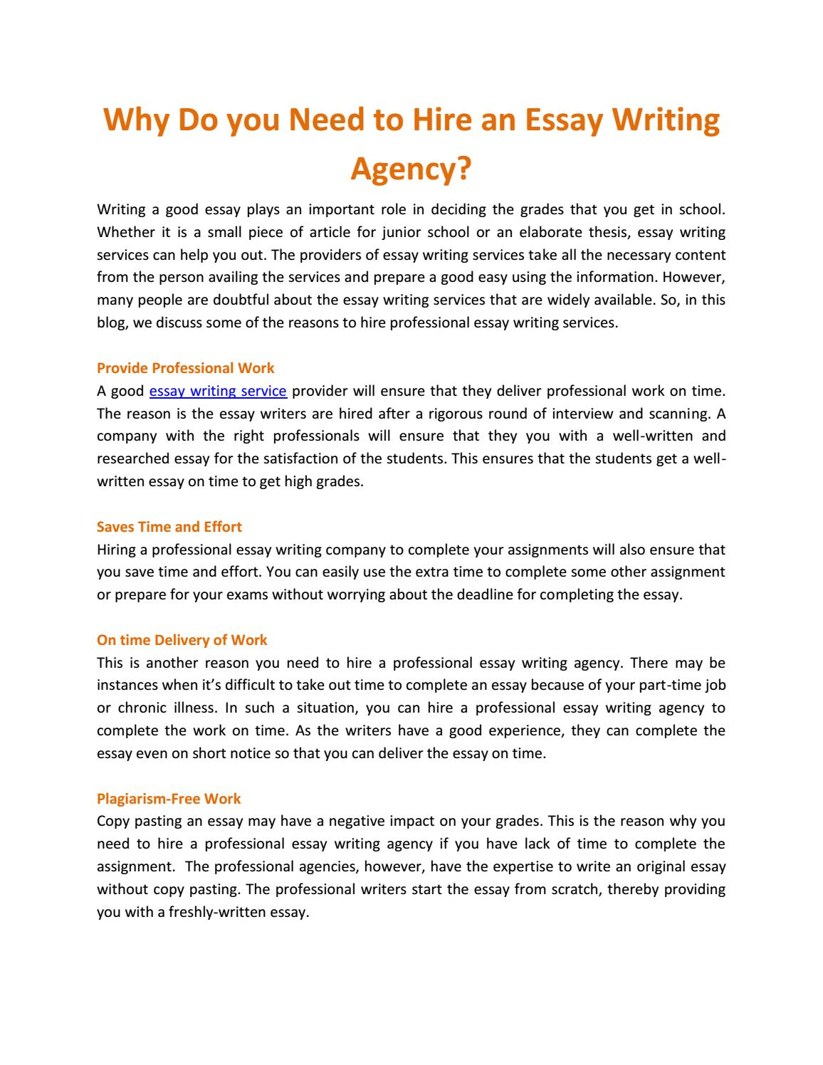 Best Writing Service Websites  Essay With Thesis Statement Example also Example Of An English Essay Why Do You Need To Hire An Essay Writing Agency By Kinsley Verk  Issuu Help Assignment