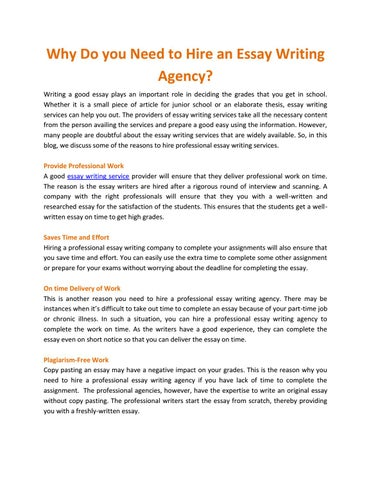 Thesis Statement For Definition Essay Why Do You Need To Hire An Essay Writing Agency Writing A Good Essay Plays  An Important Role In Deciding The Grades That You Get In School Examples Of Essay Papers also Science Assignment Help Why Do You Need To Hire An Essay Writing Agency By Kinsley Verk  Issuu How To Write A Good English Essay