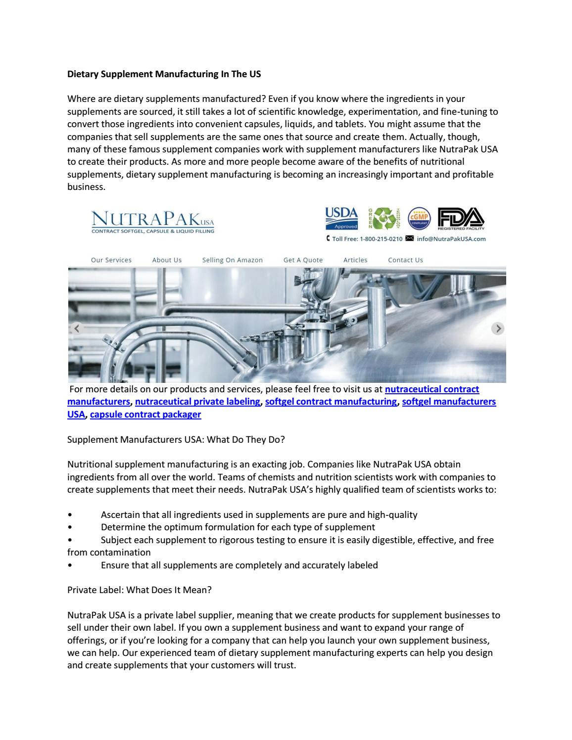 Dietary Supplement Manufacturing In The US by nutrapakusa