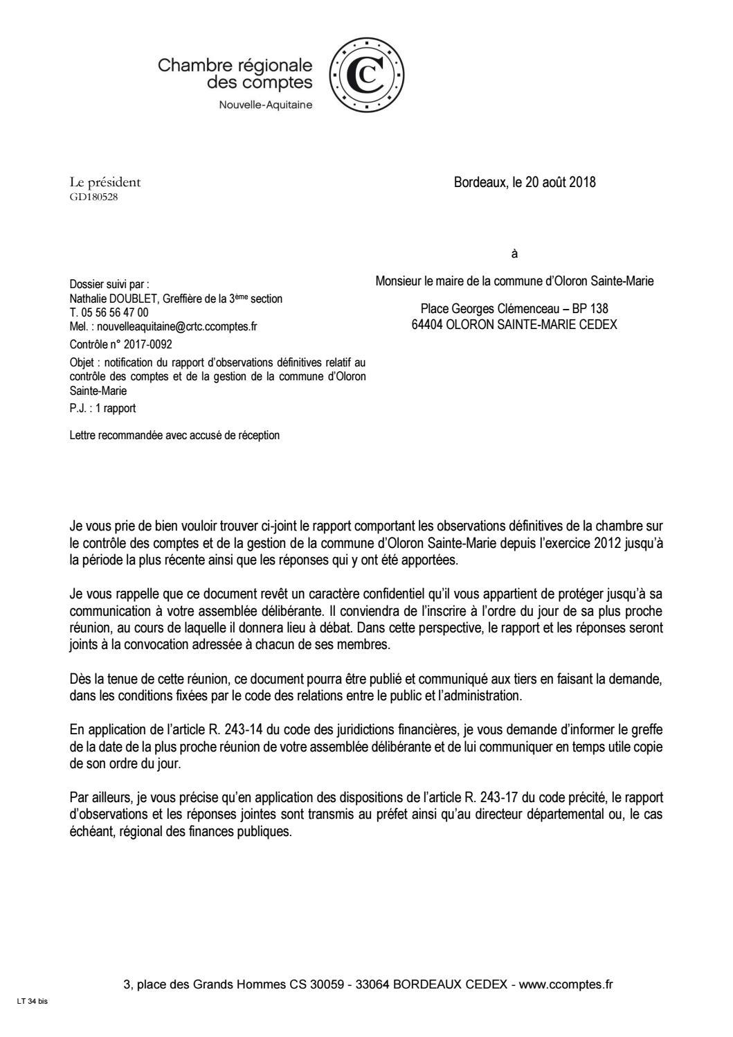 Le Rapport De La Chambre Régionale Des Comptes Sur Oloron By