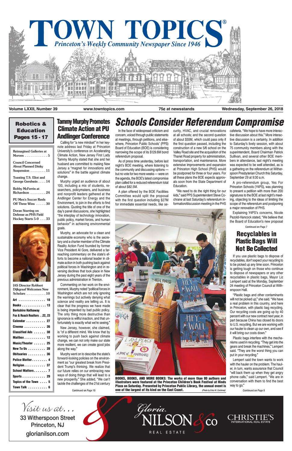 Town Topics Newspaper September 26 2018 By Witherspoon Media Group Alexandre Christie Ac 2299 Bf Silver White Issuu
