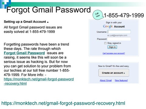 Log into your account even after you forgot Gmail password 1-855-479
