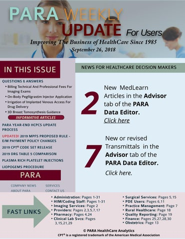 PARA Weekly Update For Users September 26, 2018 by PARA HealthCare