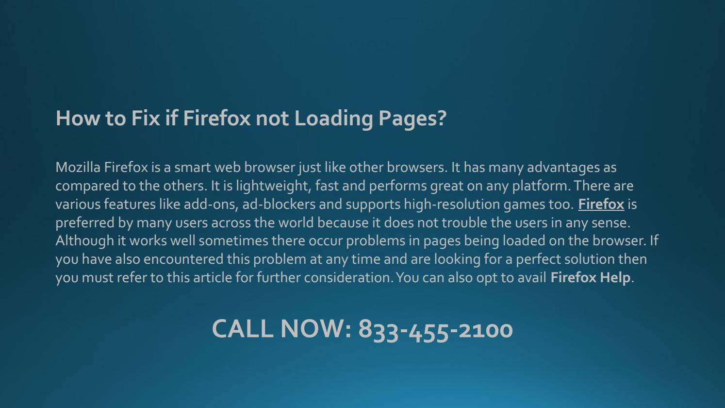 1-833-455-2100 How to Fix if Firefox not Loading Pages? by