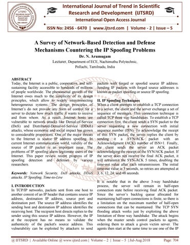 A Survey of Network-Based Detection and Defense Mechanisms