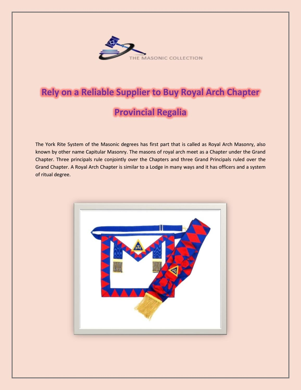 Rely on a Reliable Supplier to Buy Royal Arch Chapter