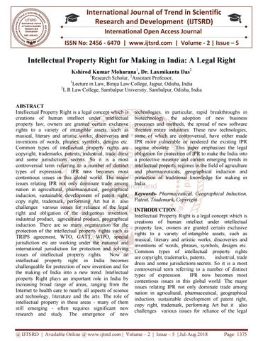 Intellectual Property Right for Making in India: A Legal Right
