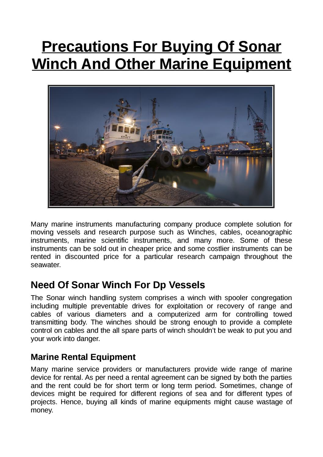 Precautions For Buying Of Sonar Winch And Other Marine