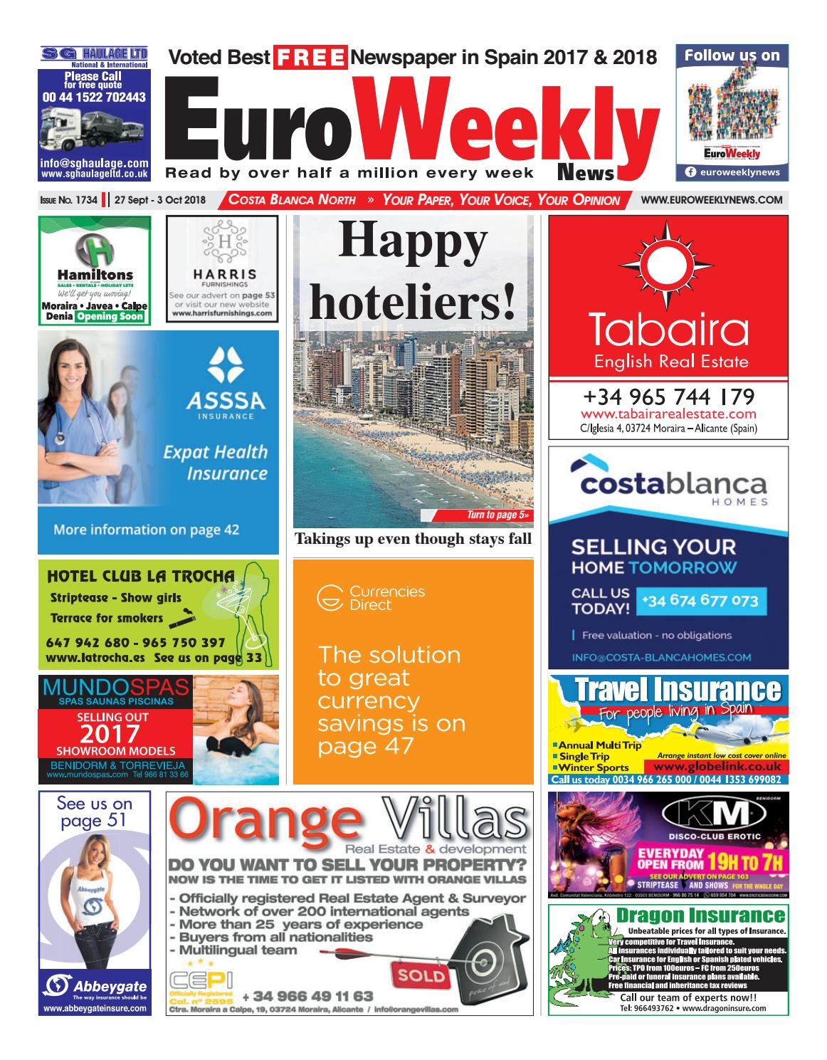 f0f5bfa9f21 Euro Weekly News - Costa Blanca North 27 September - 3 October 2018 Issue  1734 by Euro Weekly News Media S.A. - issuu