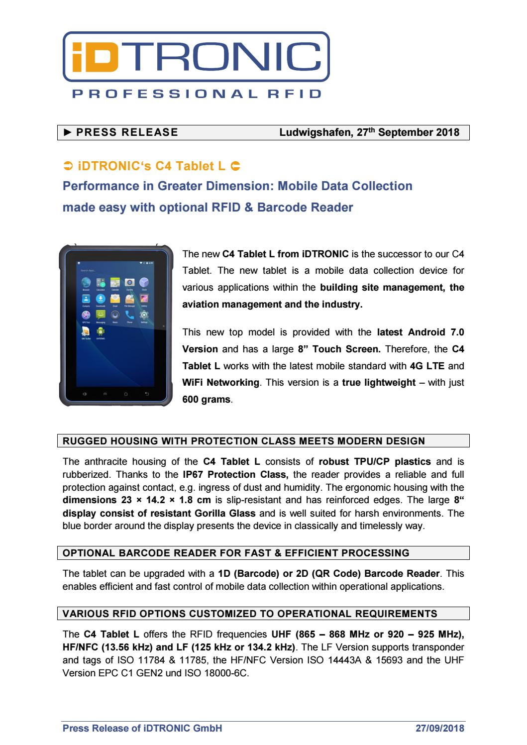 Press Release: iDTRONIC's C4 Tablet L - Performance in