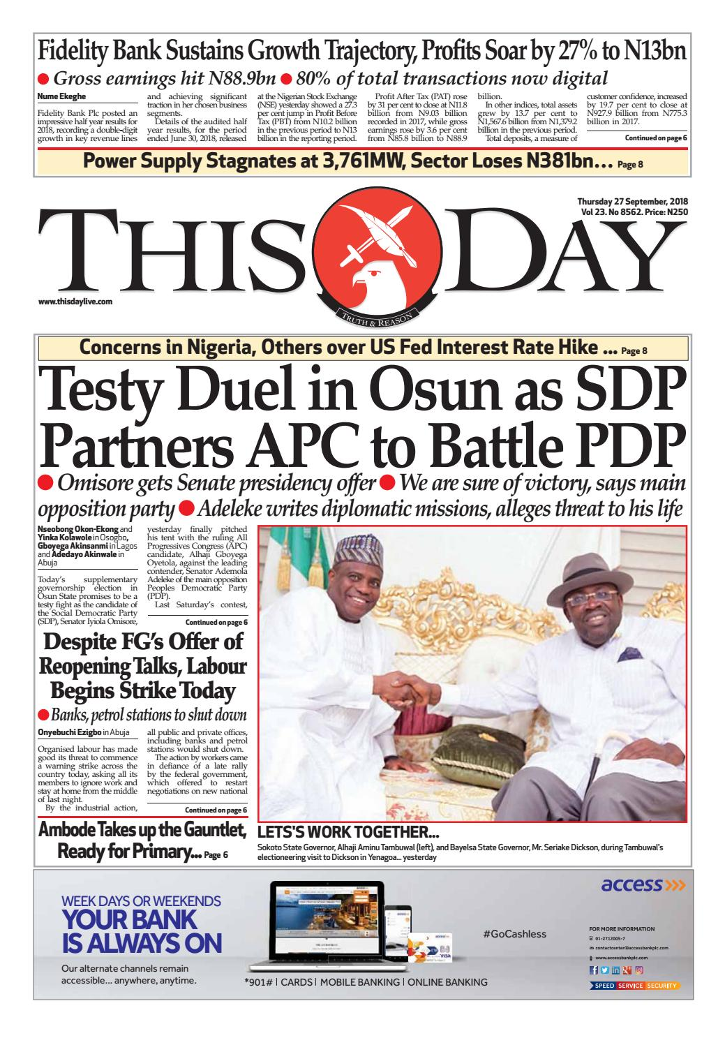849bbc332 Thursday 27th September by THISDAY Newspapers Ltd - issuu