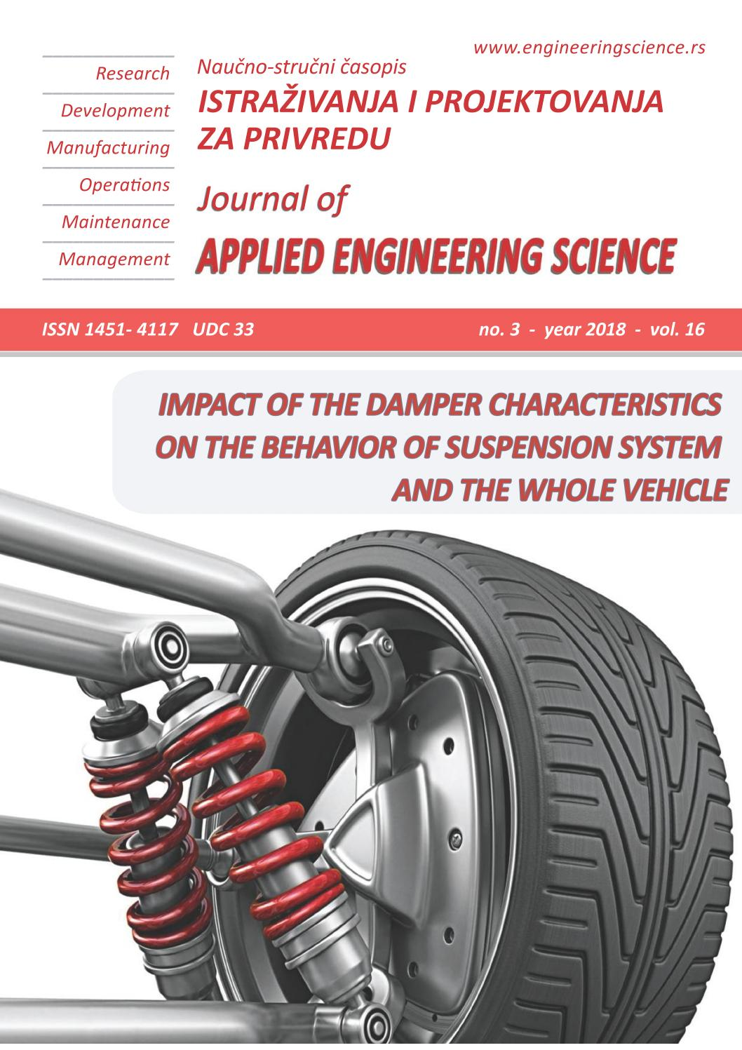 Journal Of Applied Engineering Science 3 2018 Vol 16 By Jaes Issuu