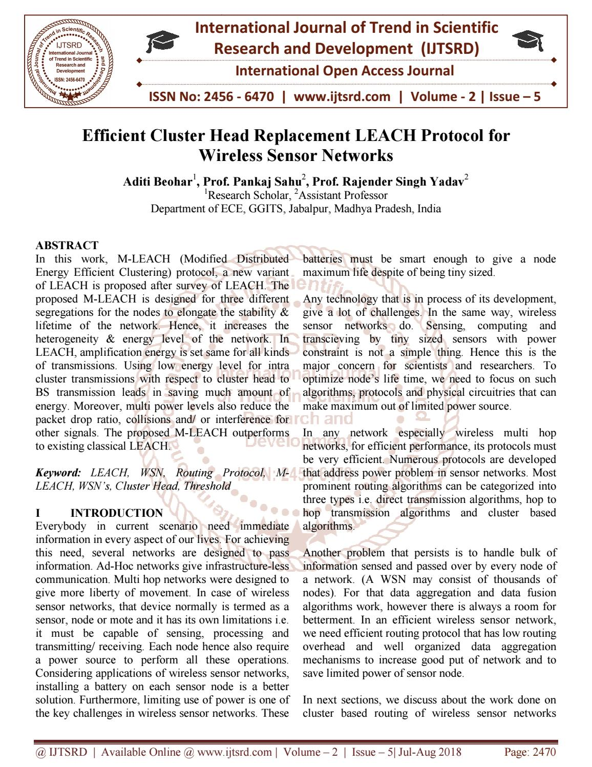 Efficient Cluster Head Replacement LEACH Protocol for