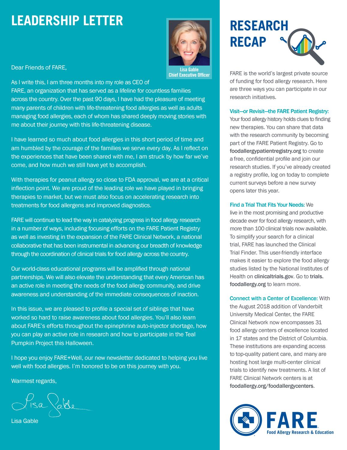 FARE+Well Newsletter - October 2018 by foodallergy - issuu
