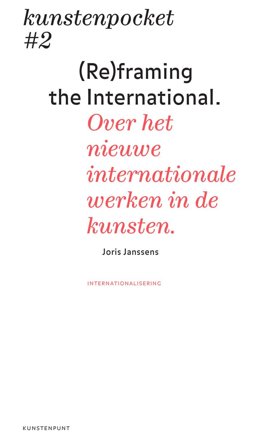 Kunstenpocket #2 | (Re)framing the International (NL) by