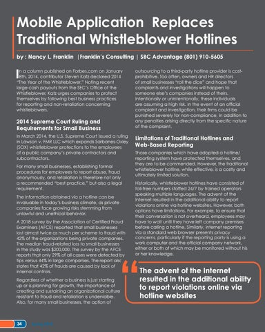 Page 34 of Mobile Application Replaces Traditional Whistleblower Hotlines