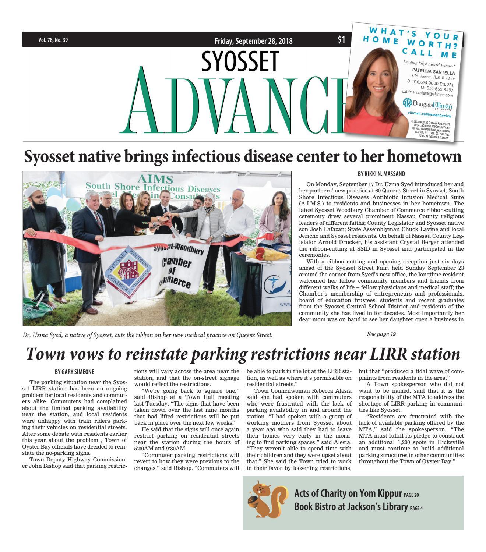 Syosset Advance (9/28/18) by Litmor Publishing - issuu