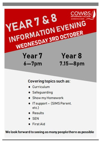 Page 2 of Information Evening Poster