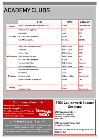 Page 7 of Academy Clubs and Sports Clubs