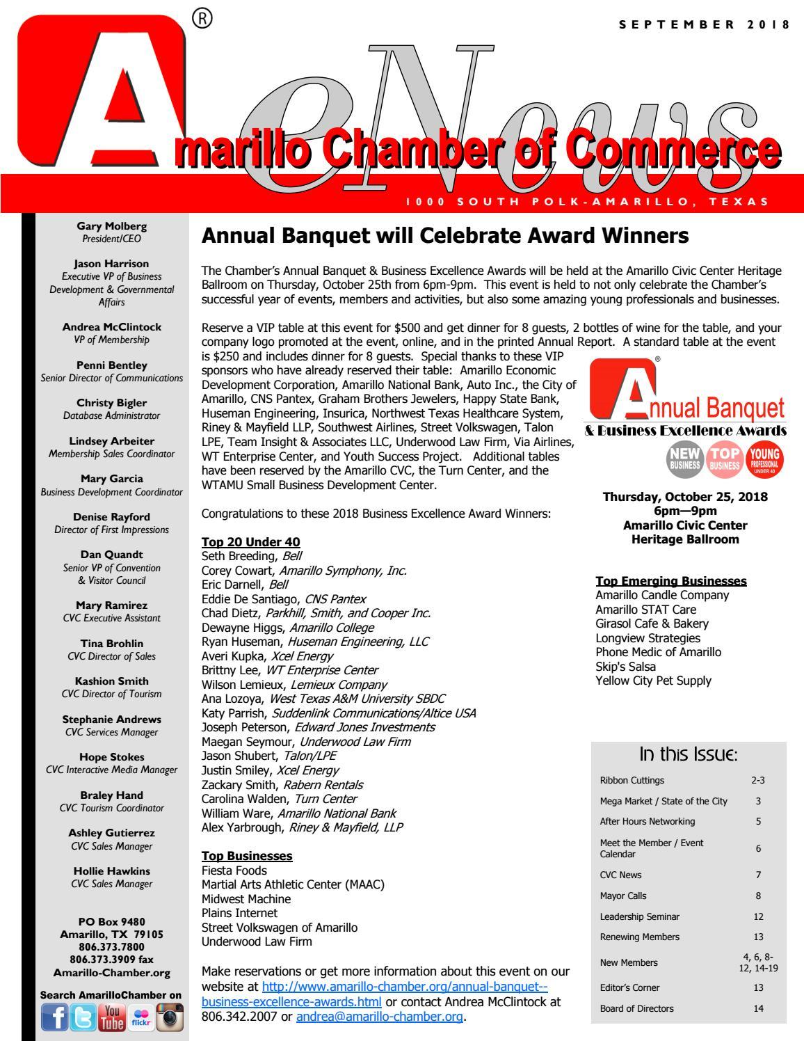 September 2018 Enewsletter By Amarillo Chamber Of Commerce Issuu