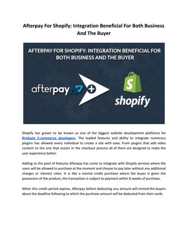 Afterpay For Shopify: Integration Beneficial For Both