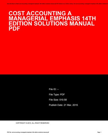 Cost Accounting A Managerial Emphasis Pdf