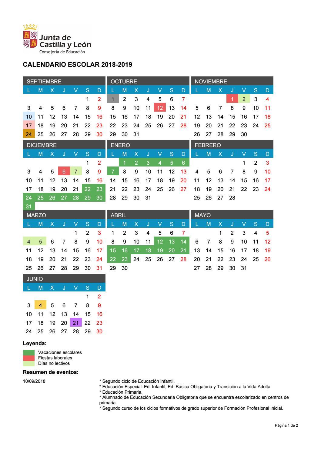 Calendario Escolar 2018 2019 By Ieslamerced Issuu