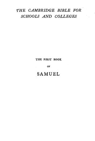 A F  Kirkpatrick, ed , The First Book of Samuel by Rob Bradshaw - issuu