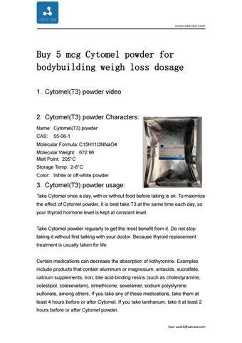 Buy 5 mcg Cytomel powder for bodybuilding weigh loss dosage by