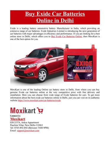 Exide Car Battery >> Buy Exide Car Batteries Online In Delhi By Moxikart Issuu