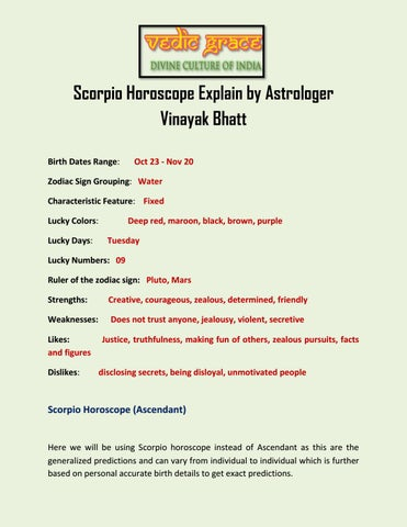 Scorpio Horoscope Explain by Astrologer Vinayak Bhatt by Vedicgrace