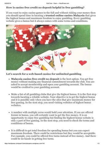 How Is Casino Free Credit No Deposit Helpful In Free Gambling By 12win Club Issuu