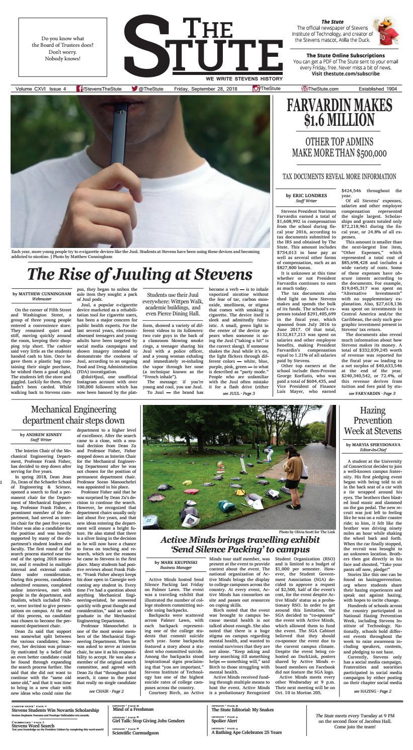 [The Stute] September 28, 2018 (Issue 4, Volume CXVI)