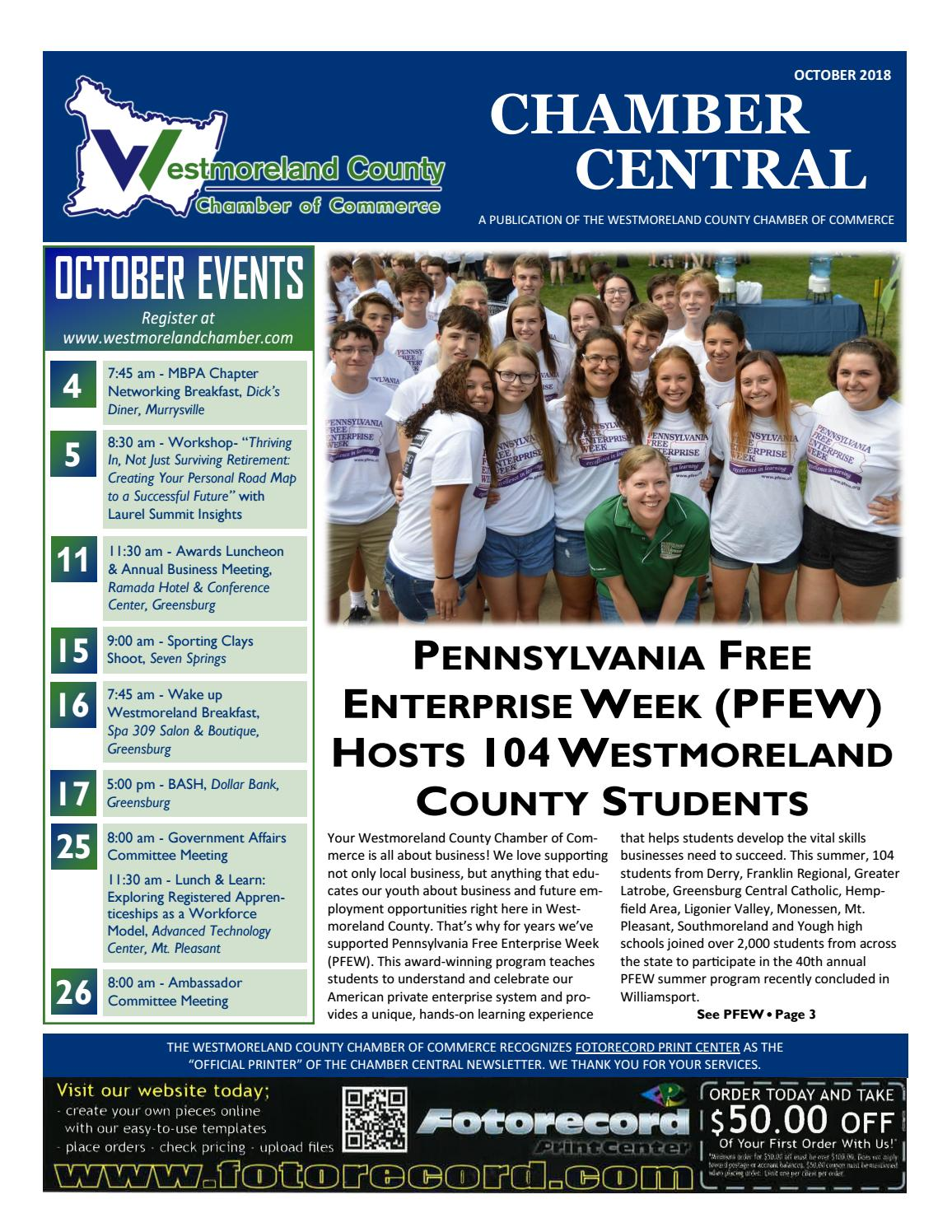 Chamber Central Newsletter October 2018 by Westmoreland County