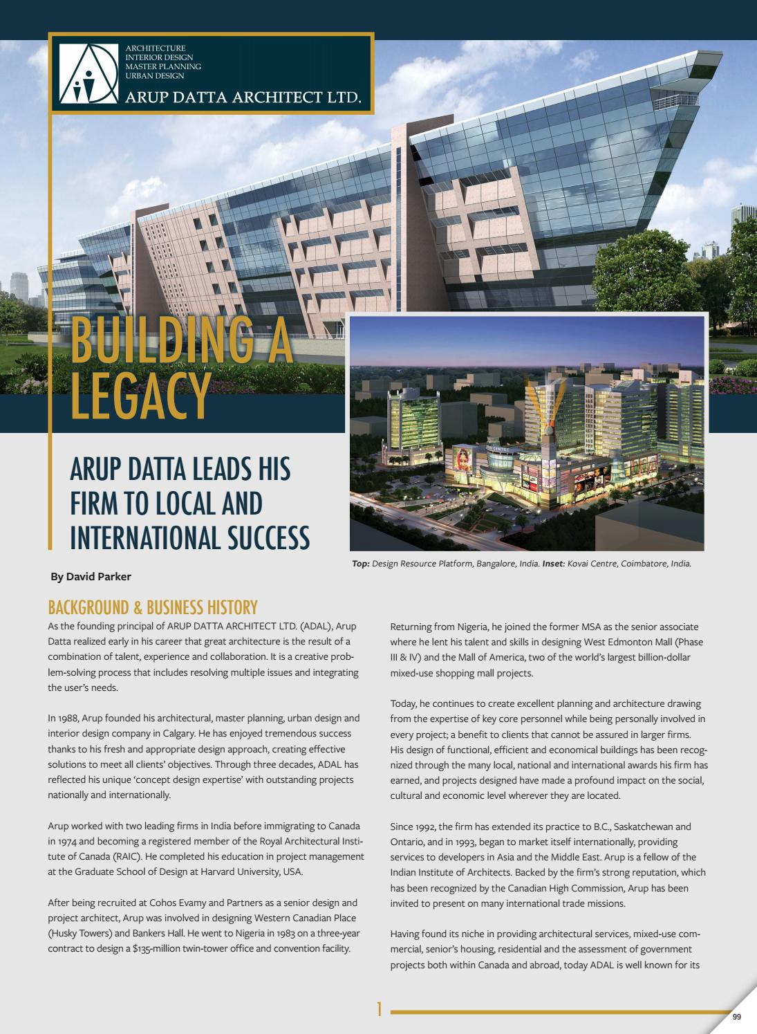 ARUP DATTA ARCHITECT LTD  Profile by Business in Calgary - issuu