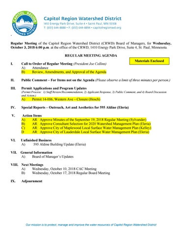 October 3, 2018 Board Packet by Capitol Region Watershed District