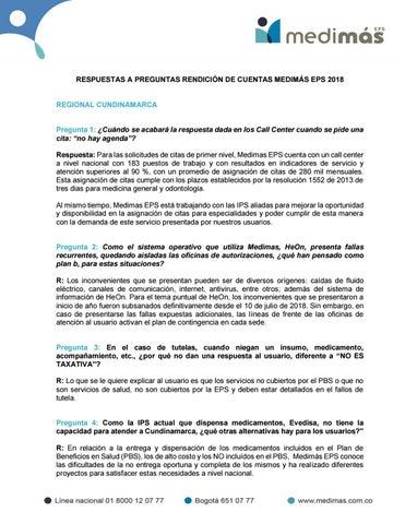 cc12939704732 Respuestas a preguntas rendición de cuentas by MedimasEPS - issuu