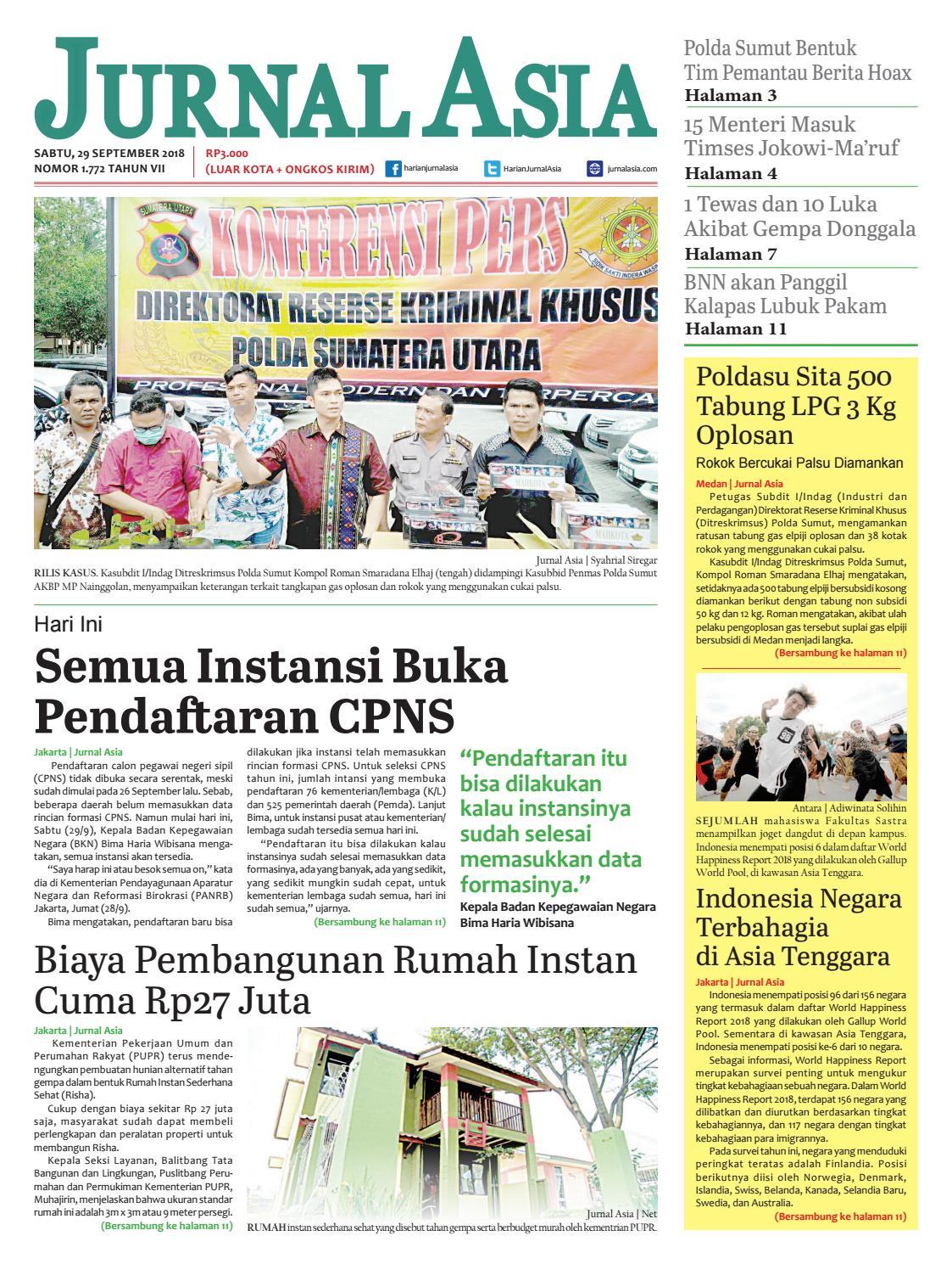 Harian Jurnal Asia Edisi Sabtu, 29 September 2018 by Harian Jurnal Asia - Medan - issuu