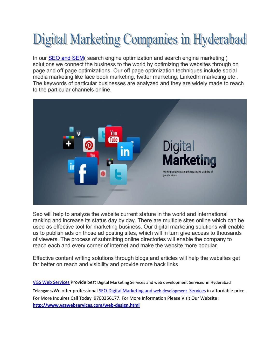 Digital Marketing Companies In Hyderabad Call Now 9700356177 By Jackben Vgs Issuu