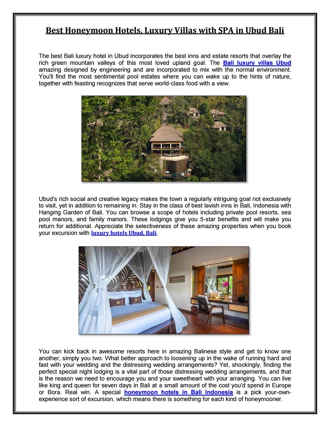 Best Honeymoon Hotels Luxury Villas With Spa In Ubud Bali By Hanging Gardens Of Bali Issuu