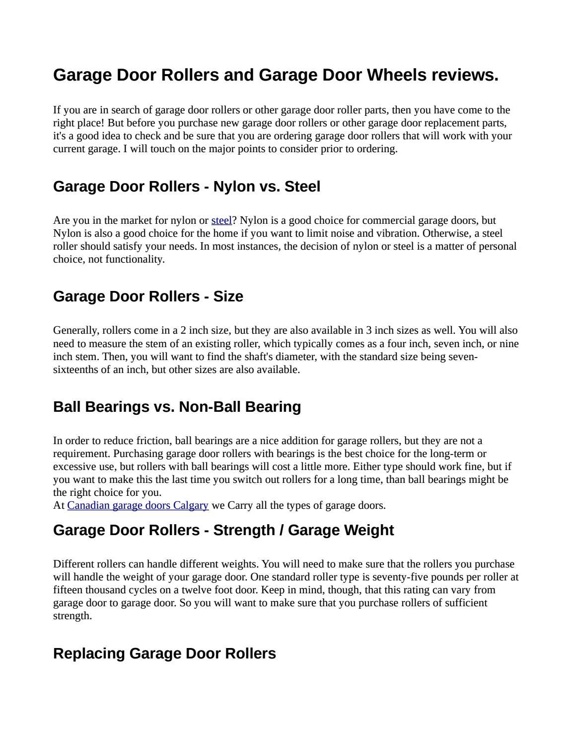 Garage Door Rollers And Garage Door Wheels Reviews By Lev