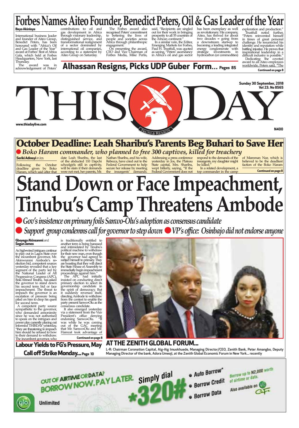 SUNDAY 30TH SEPTEMBER 2018 by THISDAY Newspapers Ltd - issuu