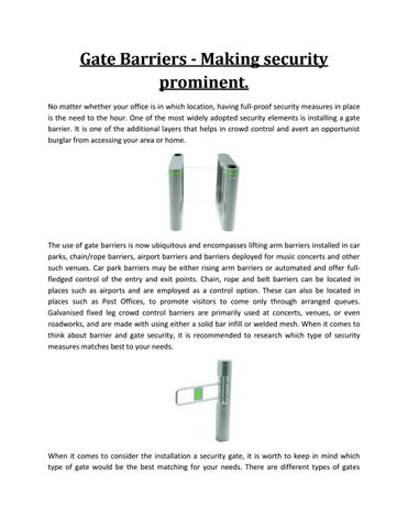 Gate Barriers - Making security prominent  by Vantage Security - issuu