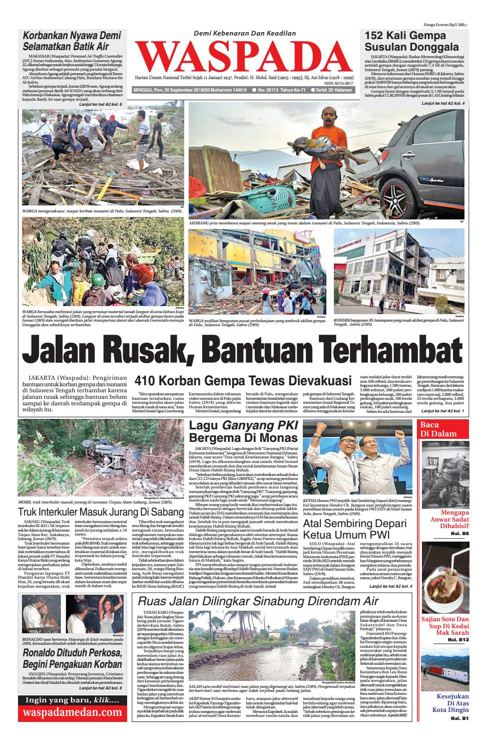 Waspada Minggu 30 September 2018 By Harian Waspada Issuu