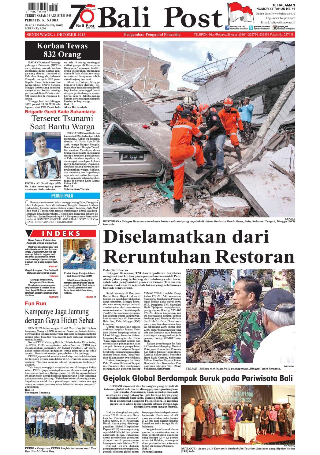 Edisi Senin 1 Oktober 2018 Balipostcom By E Paper Kmb Issuu Cb150 Verza Spoke Wheel Masculine Black Kendal